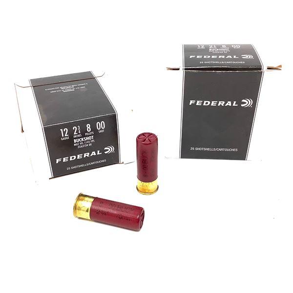 Federal 12ga Buckshot Ammunition - 50 Rnds