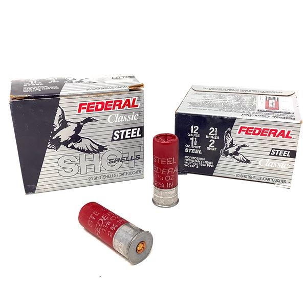 "Federal Classic Steel 12 Ga 2 3/4"" #2 Ammunition, 40 Rounds"