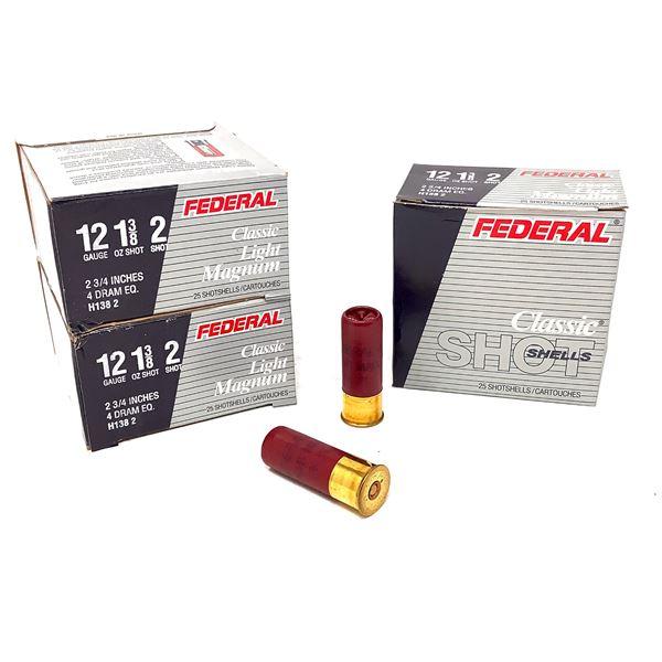 "Federal Classic Light Magnum 12 Ga 2 3/4"" #2 Ammunition, 75 Rounds"