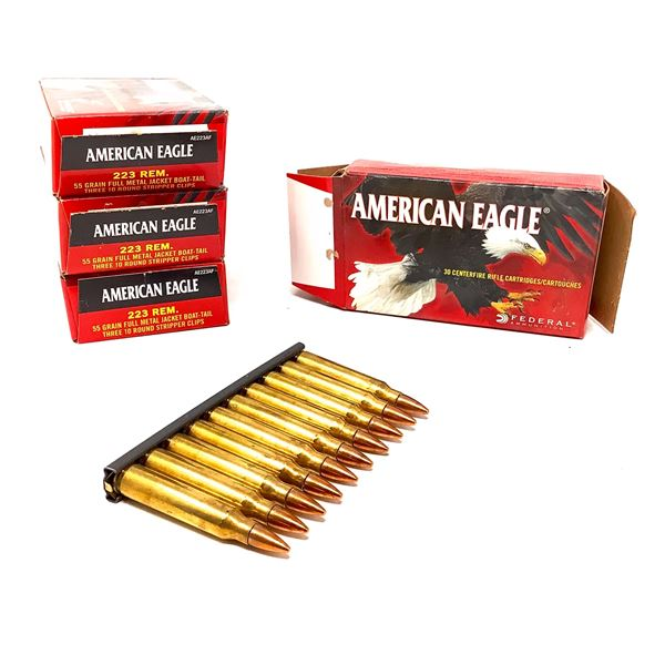 American Eagle 223 Rem 55 Grain FMJ BT Ammunition, 120 Rounds