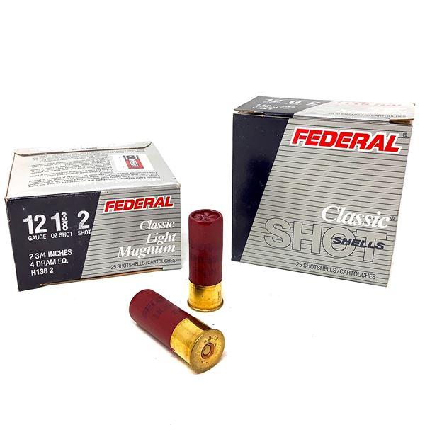 "Federal Classic Light Magnum 12 Ga 2 3/4"" #2 Ammunition, 50 Rounds"