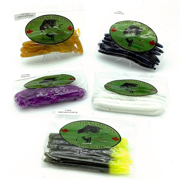 Assorted LipLocked Baits Rubber Worms & Craw X 5 Bags, New