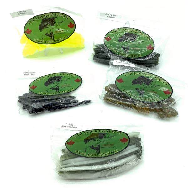 Assorted LipLocked Baits Rubber Worms, Craw & Crosstail X 5 Bags, New