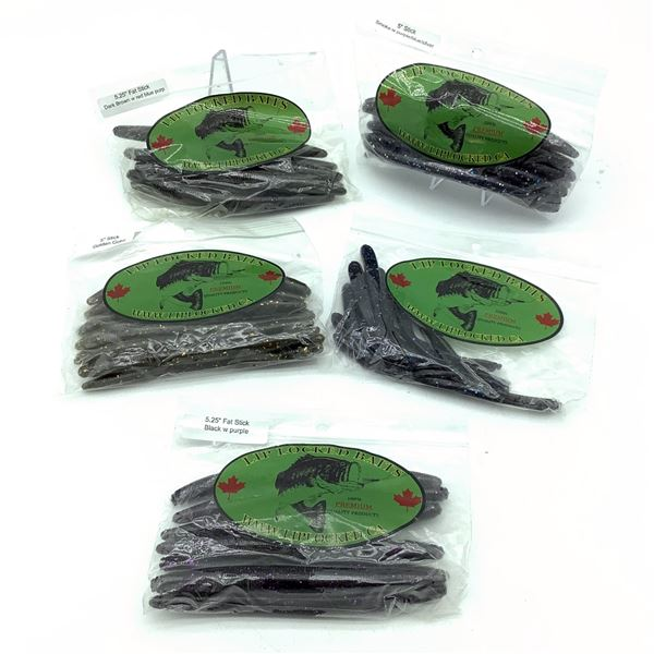 Assorted LipLocked Baits Rubber Worms X 5 Bags, New