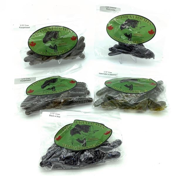 Assorted LipLocked Baits Rubber Craw & Crosstail X 5 Bags, New