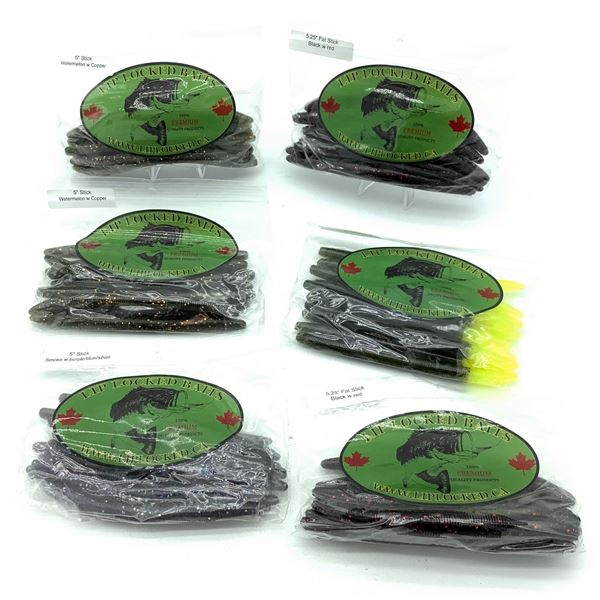 Assorted LipLocked Baits Rubber Worms X 6 Bags, New