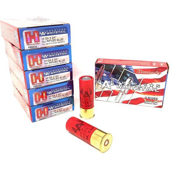 "Hornady American Whitetail 12 Ga 2 3/4"" Rifled Slugs Ammunition, 30 Rounds"