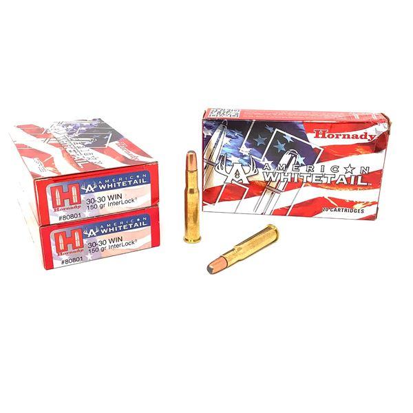 Hornady American Whitetail 30-30, 150gr Interlock Ammunition, 60 Rounds