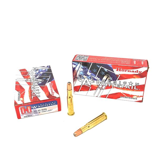 Hornady American Whitetail 30-30 Win 150 Grain Interlock Ammunition, 40 Rounds
