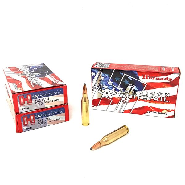 Hornady American Whitetail 243 Win 100 Grain Interlock Ammunition, 60 Rounds