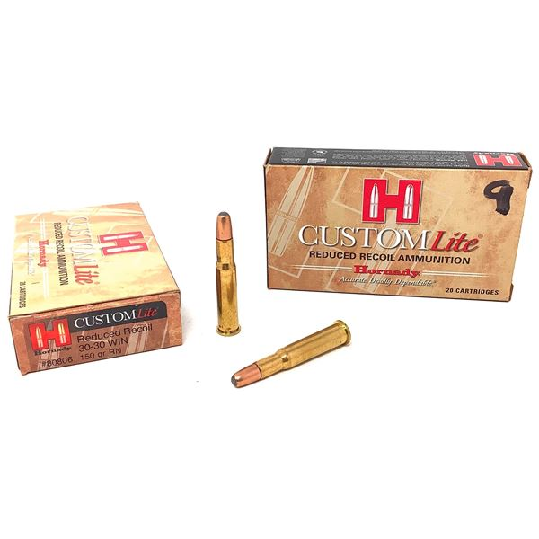 Hornady Custom 30-30 Win 150 Grain RN Ammunition, 29 Rounds