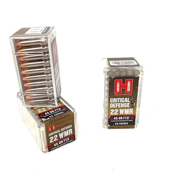 Hornady Critical Defense 22 WMR 45 Grain FTX Ammunition, 150 Rounds