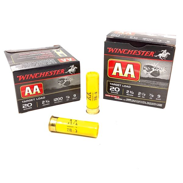 """Winchester AA Target Load 20 Ga 2 3/4"""" #9 Ammunition, 50 Rounds"""