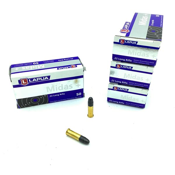 Lapua Midas 22 LR Lead Round Nose Ammunition, 200 Rounds