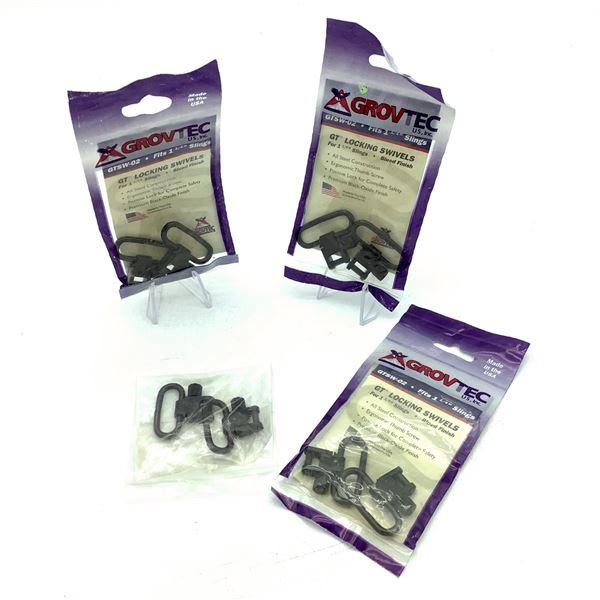 "Grovtec GTSW-02 1 1/4"" Sling Locking Swivels X 3, New and 1 1"" Sling Swivel Set, New"