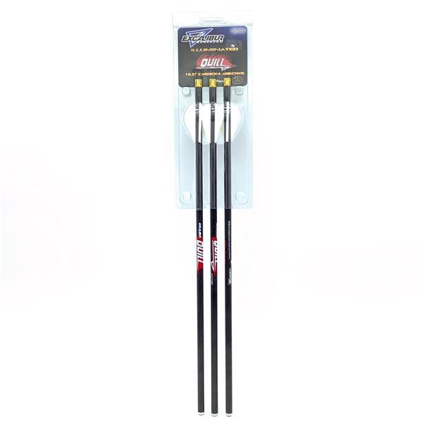 """Excalibur Illuminated Carbon Quills 16.5"""" 3 Pk, New"""