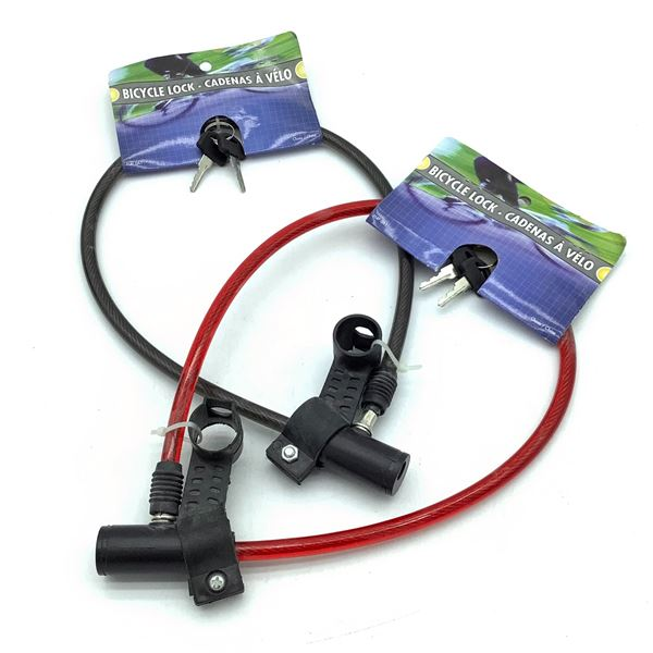Keyed Cable Locks, (Red and Black) X 2, New