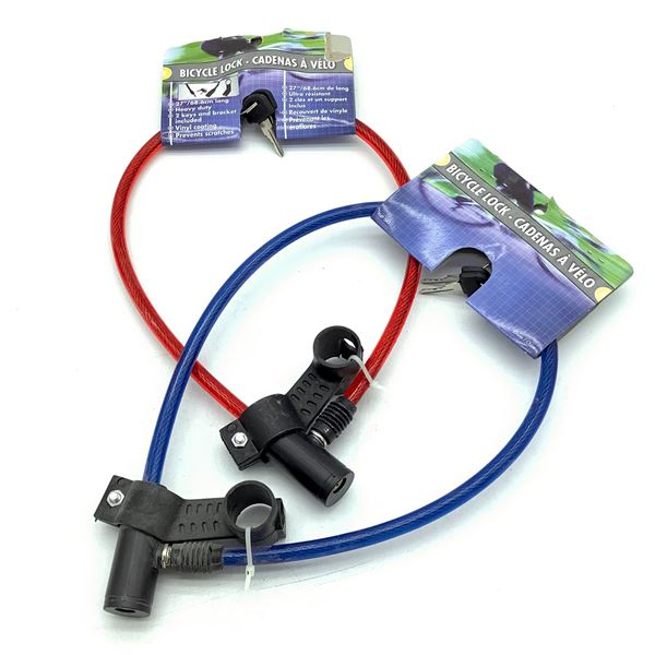 Keyed Cable Locks, (Red and Blue) X 2, New