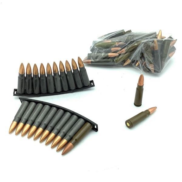 Assorted Loose 7.62 X 39 Ammunition, 63 Rounds and 2 Stripper Clips