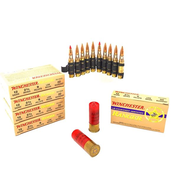 Linked Tracer (1 Tracer, 4 Ball) 7.62 X 51 Rounds Ammunition On Belt, 10 Rounds and 25 Rds 12 Ga