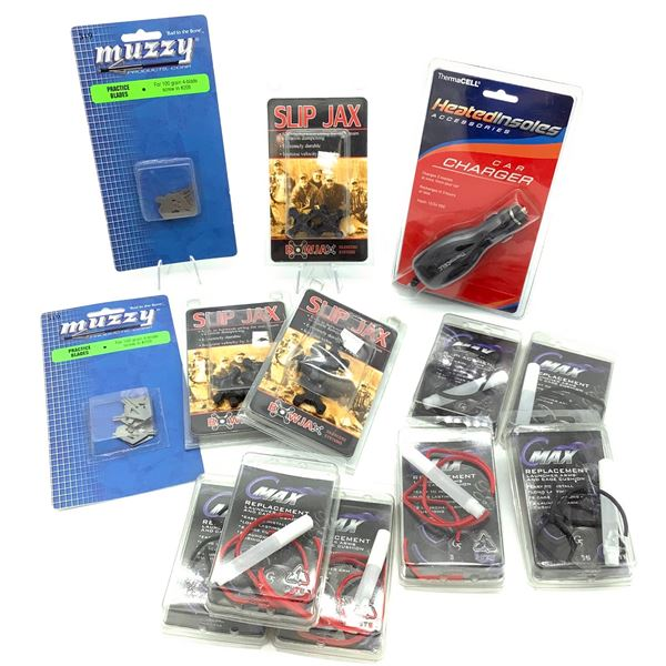 Assortment of Archery Supplies Including Silencers, String, Blades and Car Charger, New