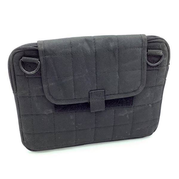 Pouch with Velcro Close and Zipper, Black