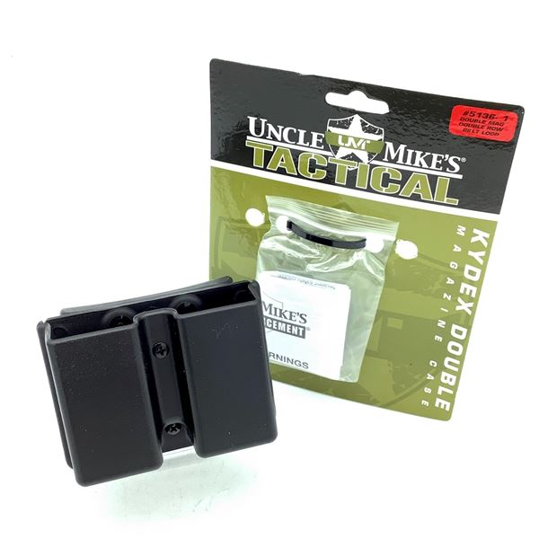 Uncle Mike's Kydex Double Row, Double Pistol Magazine Case With Belt Loop