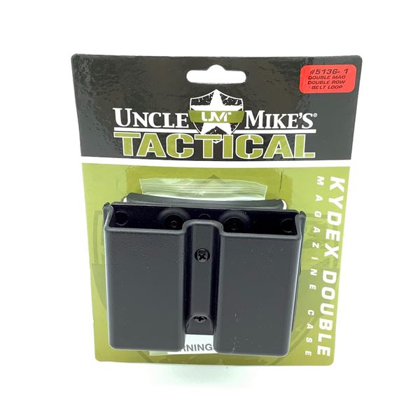 Uncle Mike's Kydex Double Row, Double Pistol Magazine Case With Belt Loop, Black
