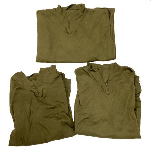 Zip Down Long Underwear Shirt, Large, Olive Drab X 3