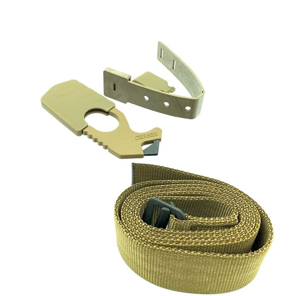 """Brown Belt Up to 50"""" and Gerber Strap Cutter, New"""