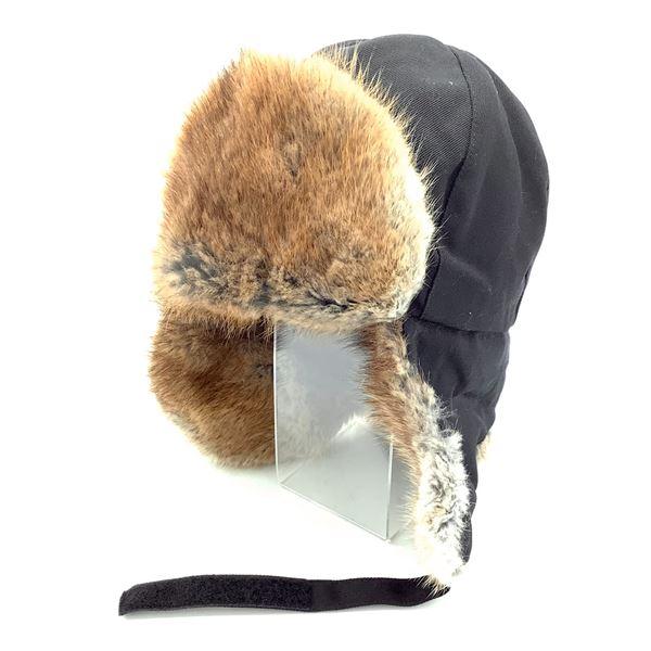 Canadian Military Yukon Hat, Muskrat Fur Trimmed Hat, Size Medium