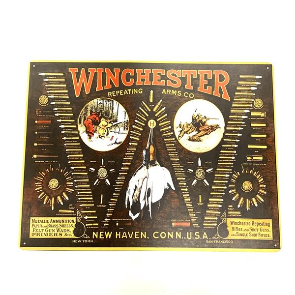 """Winchester Arms Tin Sign, 15"""" X 12"""", New"""