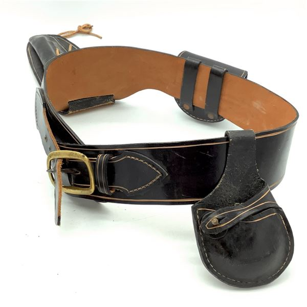 """Leather Belt, Fits Up to 38"""" With Holster and Pouches, Black"""