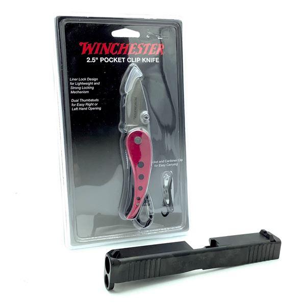 """Glock G17 Gen 5 9mm Slide and Winchester 2.5"""" Pocket Clip Knife, New"""