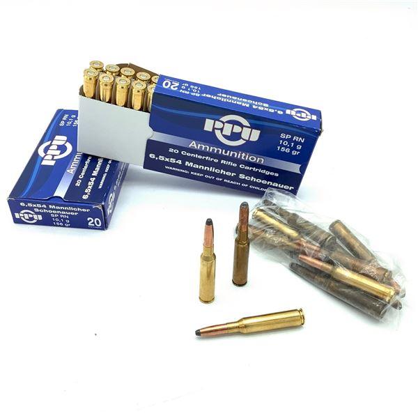 PRVI 6.5 X 54 Mannlicher 156 Grain RNSP Ammunition, 52 Rounds