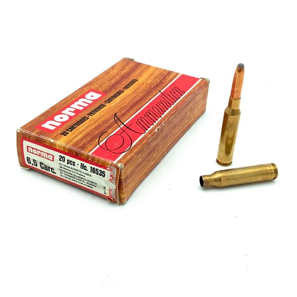 Norma 6.5 Carcano Ammunition, 6 Rounds and Cases X 14 Pieces