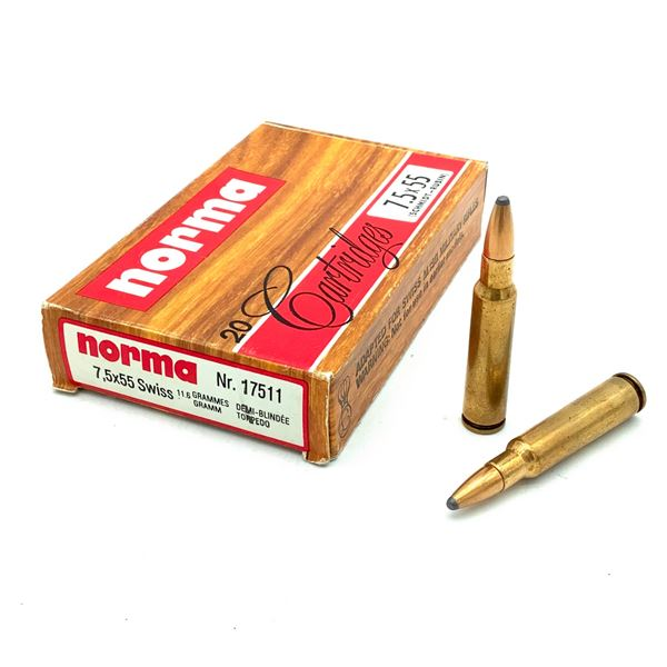 Norma 7.5 X 55 Swiss 180 Grain SP Ammunition, 20 Rounds