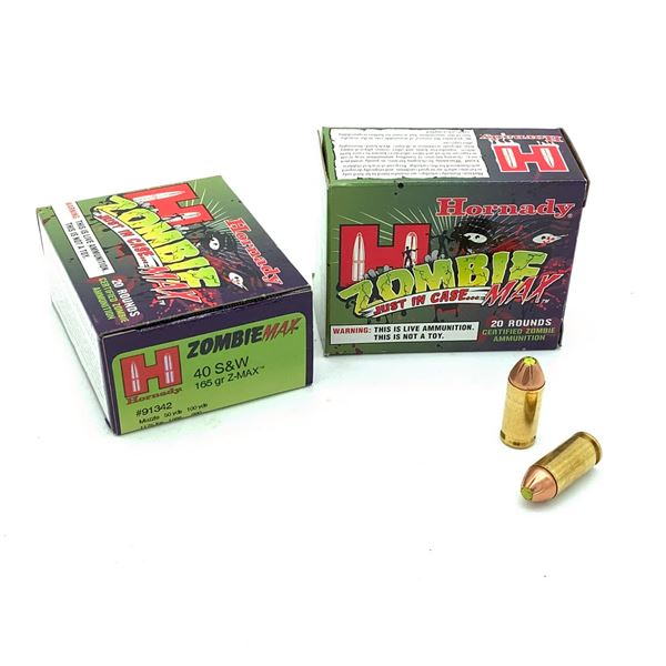 Hornady Zombie Max 40 S & W 165 Grain Ammunition, 40 Rounds