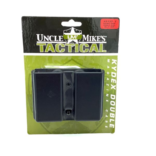 Uncle Mike's Tactical Kydex Double Magazine, Single Row Belt Loop Carrier, New