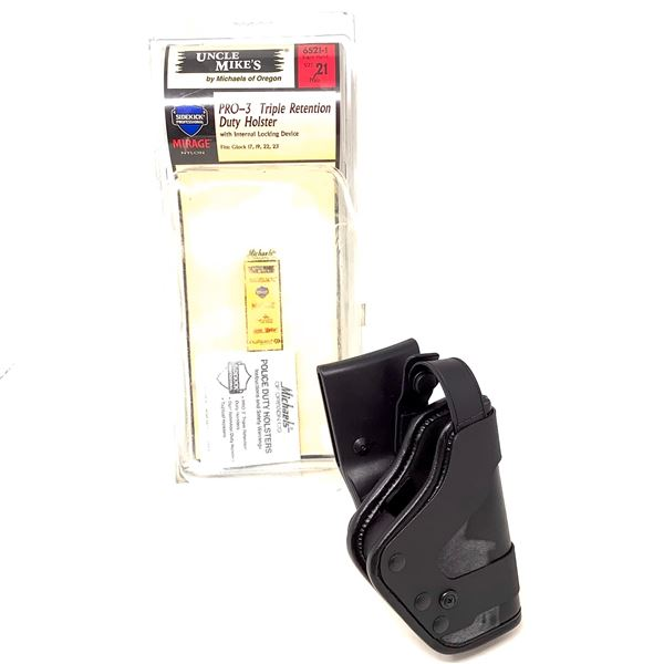 Uncle Mike's Pro-3 Triple Retention RH Duty Holster for Glock 17, 19, 22, 23, New