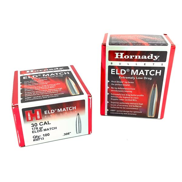 Hornady 30 Cal Projectiles, 178 Gr ELD Match - 200 Projectiles, New