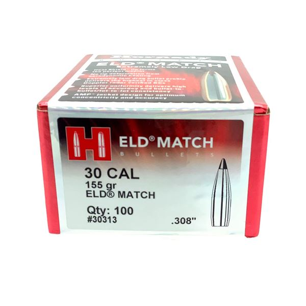 Hornady 30 Cal Projectiles, 155 Gr ELD Match - 100 Projectiles, New