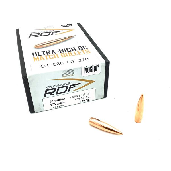 Nosler 30 Cal Projectiles, 175 RDF - 80 Projectiles