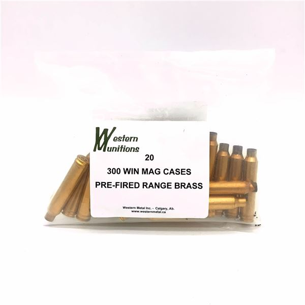 300 Win Mag Western Munitions Pre-Fired Range Brass - 20 Pieces