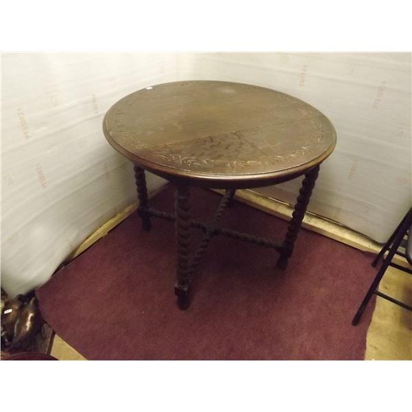 ANTIQUE BARLEY TWIST ROUND WOODEN HAND CARVED CONVERSATION TABLE