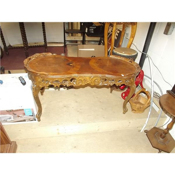 VICTORIAN ORNATE CARVED INLAY COFFEE TABLE