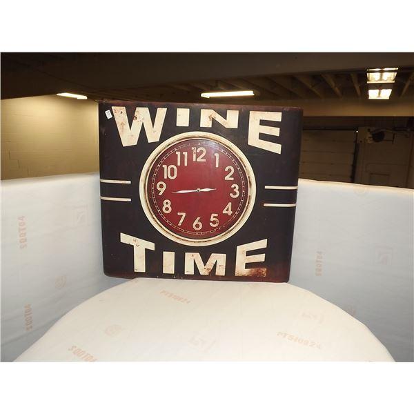 """""""WINE TIME"""" LARGE TIN WALL CLOCK"""