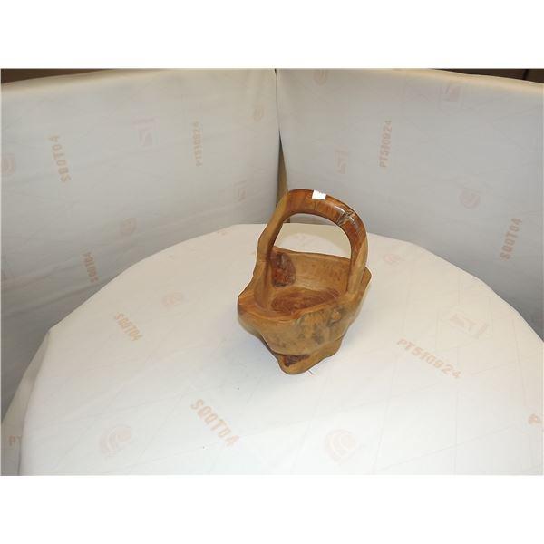 VINTAGE HAND CARVED ORNATE WOODEN BASKET