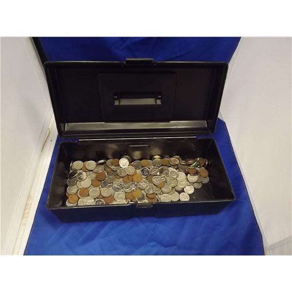 SMALL BLACK BOX FULL OF ASSORTED COIN CURRENCY