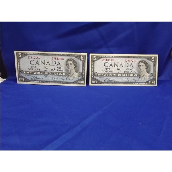 LOT OF 2 1954 CNDN $5 BILLS